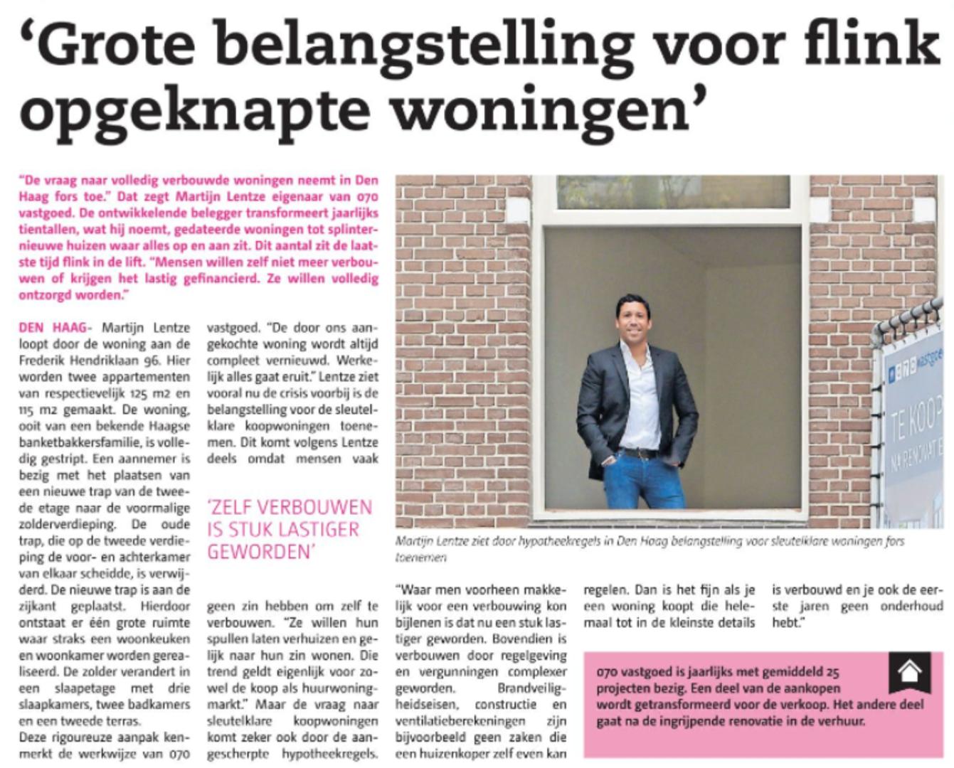 070 vastgoed signaleerst grote belangstelling voor opgeknapte woningen in interview met Posthoorn