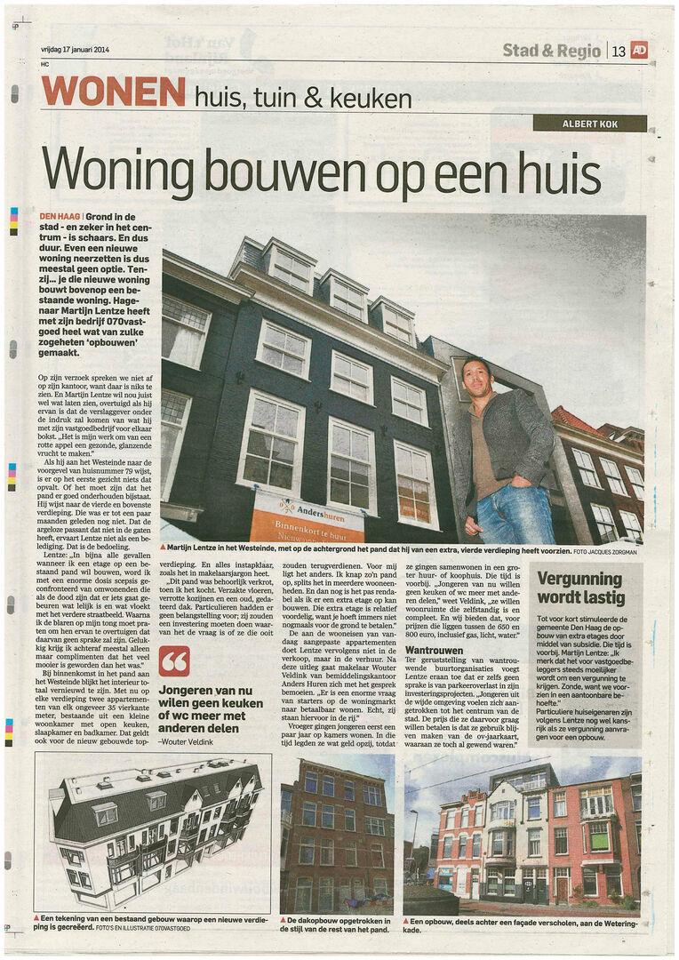 070 vastgoed belicht in het AD een creatieve manier van waarde toevoegen; Een woning bouwen op een huis