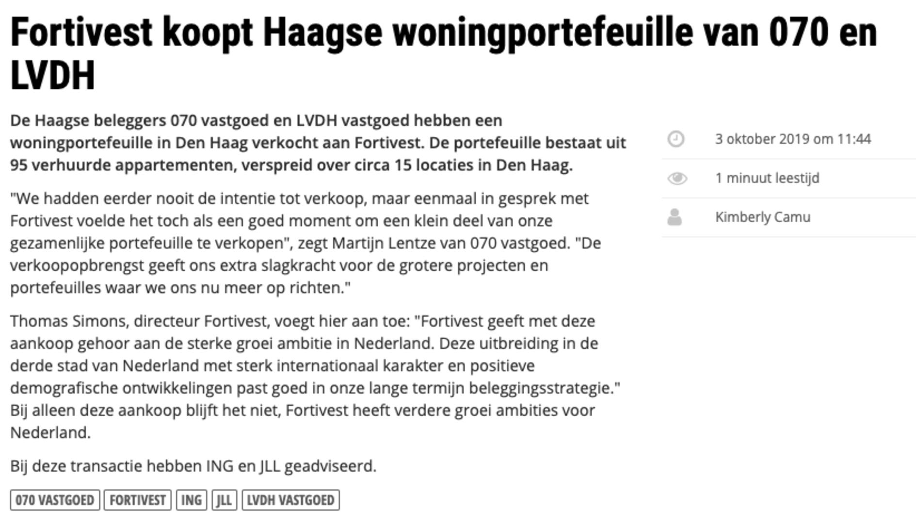 Fortivest koopt Haagse woningportefeuille van 070 Vastgoed & LVDH